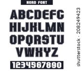 sanserif font and numeral with... | Shutterstock .eps vector #208249423