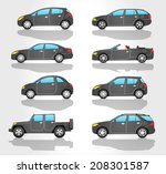 cars icon set | Shutterstock .eps vector #208301587