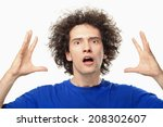 crazy afro young man portrait. | Shutterstock . vector #208302607