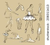 vector sketch of girl's ballerinas standing in a pose set