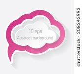 vector pink paper speech bubble ... | Shutterstock .eps vector #208342993