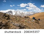 trekking to saribung peak base... | Shutterstock . vector #208345357