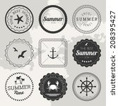 set of 9 circle summer icons ... | Shutterstock .eps vector #208395427