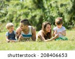 happy family with little...   Shutterstock . vector #208406653