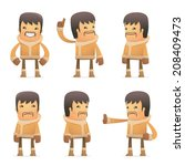 set of eskimo character in different interactive  poses