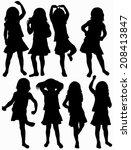 girls silhouettes   Shutterstock .eps vector #208413847