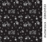 seamless pattern with bicycles | Shutterstock .eps vector #208424533