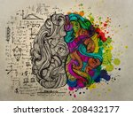 brain sketchy doodles about the ... | Shutterstock . vector #208432177