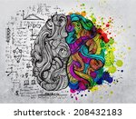 brain sketchy doodles about the ... | Shutterstock . vector #208432183
