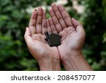 woman hands holding house  | Shutterstock . vector #208457077