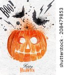 pumpkin halloween poster with... | Shutterstock .eps vector #208479853