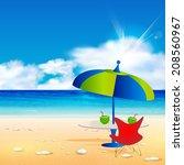 relaxing scene on summer beach  ... | Shutterstock .eps vector #208560967