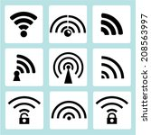 wireless icons  wifi sign | Shutterstock .eps vector #208563997