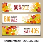 autumn sales banners for web or ... | Shutterstock .eps vector #208607383