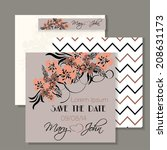 wedding invitation card with... | Shutterstock .eps vector #208631173