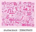 doodle media background | Shutterstock .eps vector #208639603