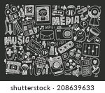 doodle media background | Shutterstock .eps vector #208639633