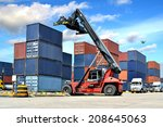 forklift handling the container ... | Shutterstock . vector #208645063