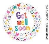 get well soon card   Shutterstock .eps vector #208649443