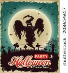 vintage halloween poster set... | Shutterstock .eps vector #208654657