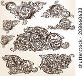 vector set of calligraphic...   Shutterstock .eps vector #208660633