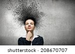 young troubled businesswoman... | Shutterstock . vector #208670707
