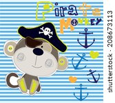 pirate monkey striped... | Shutterstock .eps vector #208673113