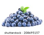 blueberry pile with leaves on... | Shutterstock . vector #208695157