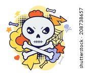 halloween kawaii print or card... | Shutterstock .eps vector #208738657