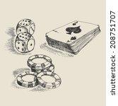 doodle style gambling vector... | Shutterstock .eps vector #208751707