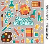 set of stickers for the school... | Shutterstock .eps vector #208780537