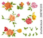 watercolor roses set   floral... | Shutterstock .eps vector #208785103