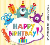 monster birthday party vector... | Shutterstock .eps vector #208796413