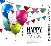birthday card with balloons and ... | Shutterstock .eps vector #208797427