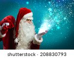 santa claus with gift bag... | Shutterstock . vector #208830793