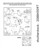 Connect the dots picture puzzle and coloring page with ducklings and fish at the pond. Answer included.  - stock vector
