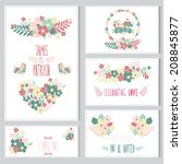elegant cards with floral... | Shutterstock . vector #208845877