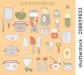 colorful set of kitchen tools.... | Shutterstock .eps vector #208859833