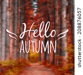 vector blurred autumn landscape ... | Shutterstock .eps vector #208876057