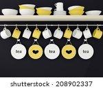 color ceramic kitchenware on... | Shutterstock . vector #208902337