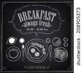 vintage poster. breakfast menu. ... | Shutterstock .eps vector #208905373