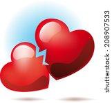 broken heart symbol  | Shutterstock .eps vector #208907533