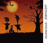 halloween cartoon landscape... | Shutterstock .eps vector #208932397