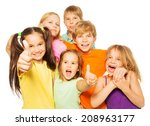 group of kids with thumbs up  | Shutterstock . vector #208963177