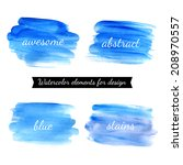 set of watercolor stains.... | Shutterstock .eps vector #208970557