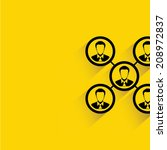 human management, people center concept on yellow background, flat and shadow design