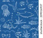 Blue Seamless Pattern With...