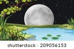 illustration of a pond under... | Shutterstock .eps vector #209056153