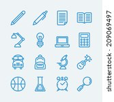 16 line icons for education
