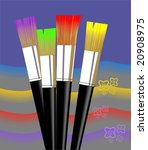 brushes and paints in  a shade... | Shutterstock .eps vector #20908975